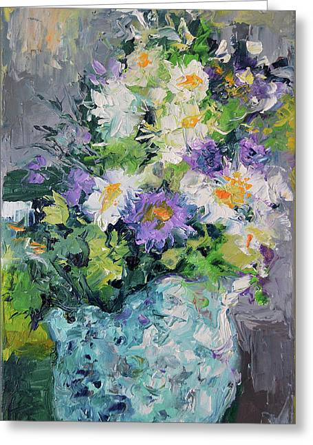 White Flowers, Modern Relief Painting Greeting Card