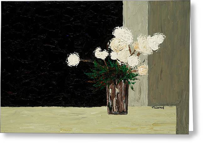 White Flowers On Black And Neutral Greeting Card by Timothy Clayton