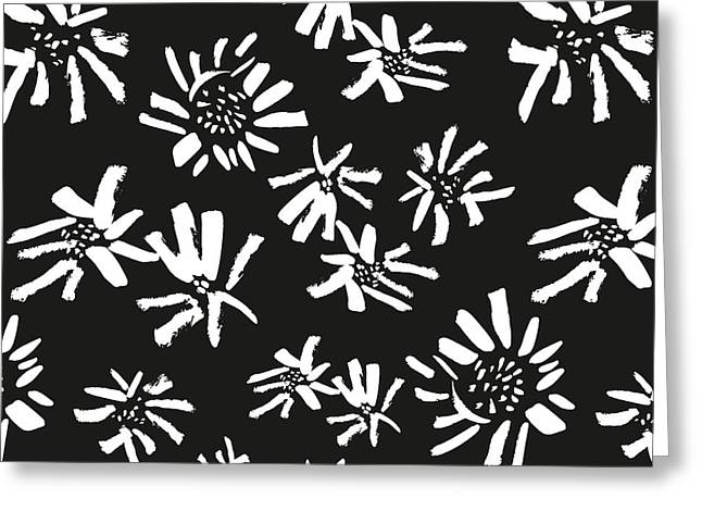 White Flowers On The Black Greeting Card