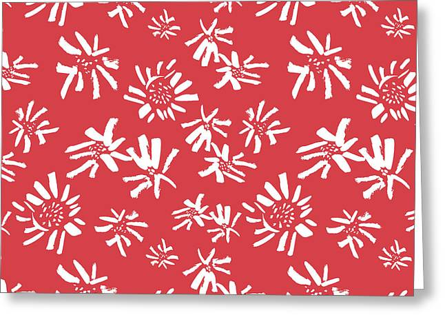 White Flowers On The Red Greeting Card