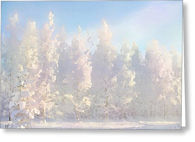 Greeting Card featuring the digital art White Forest Morning by Shelli Fitzpatrick