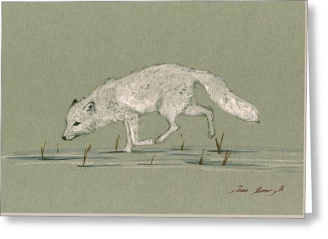 White Fox Walking Greeting Card