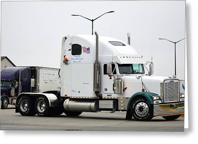 White Freightliner Greeting Card