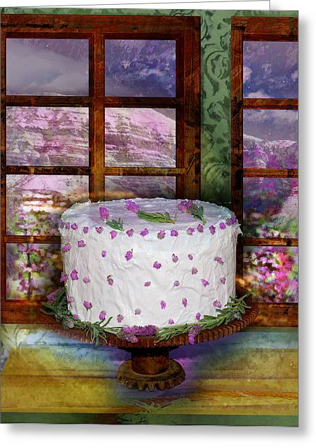White Frosted Cake Greeting Card by Mary Ogle and Miki Klocke