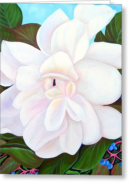 White Gardenia With Virginia Creepers Greeting Card