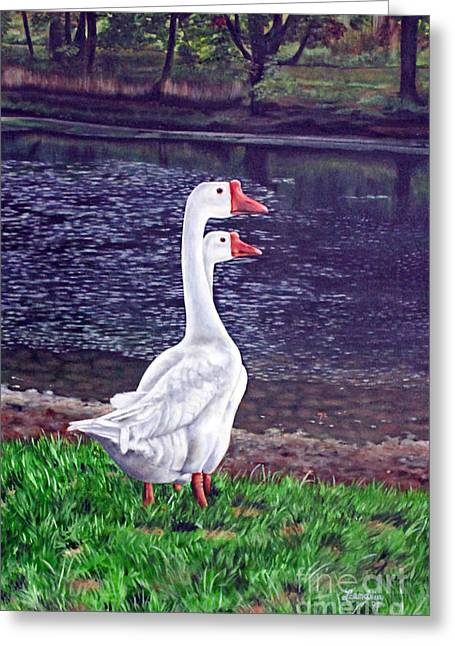 White Geese At Dusk Greeting Card