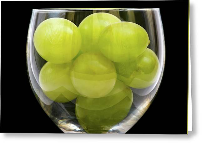 White Grapes In Glass Greeting Card by Wim Lanclus