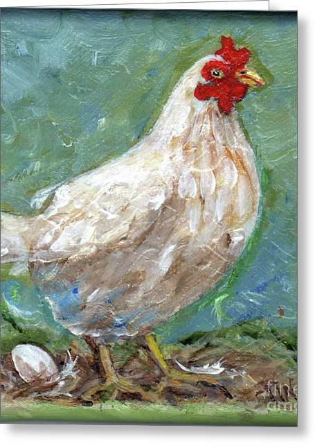 White Hen Lays Egg Greeting Card by Doris Blessington