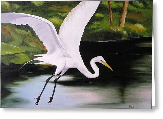 White Heron In Flight Greeting Card