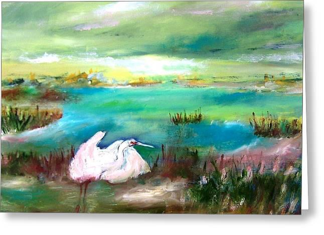 White Heron In Florida Marsh Early Morning Greeting Card