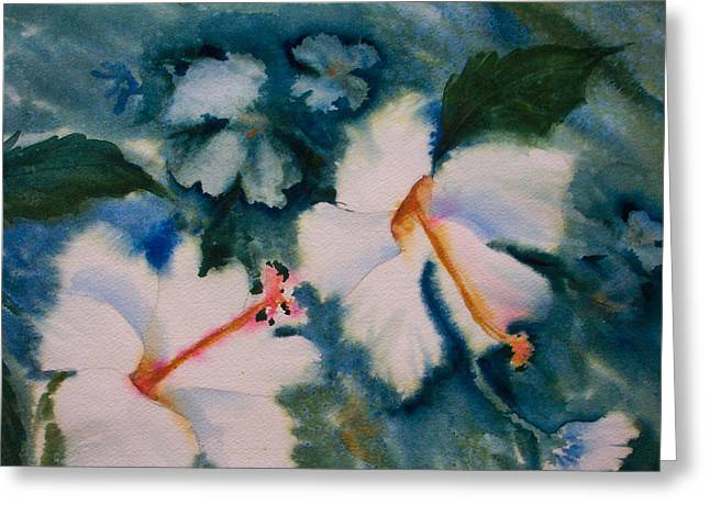 White Hibiscus Greeting Card by Ruth Bevan