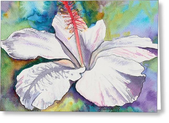 White Hibiscus Waimeae Greeting Card