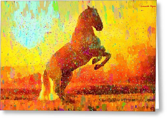 White Horse - Pa Greeting Card by Leonardo Digenio