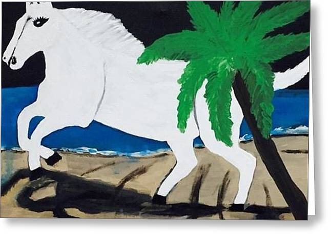 White Horse Painting. Original Acrylic Painting On Canvas. Greeting Card