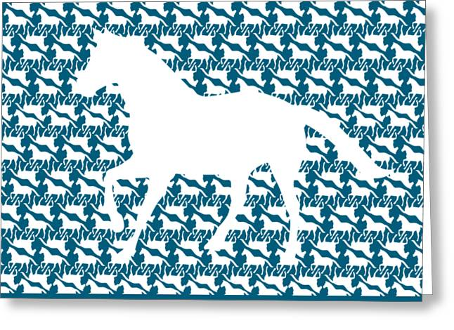 White Horse Pattern On Blue With Large White Horse Silhouette Greeting Card