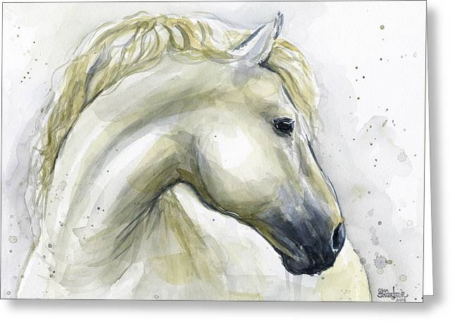 White Horse Watercolor Greeting Card by Olga Shvartsur