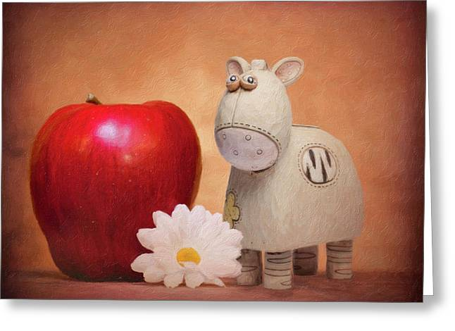 White Horse With Apple Greeting Card by Tom Mc Nemar