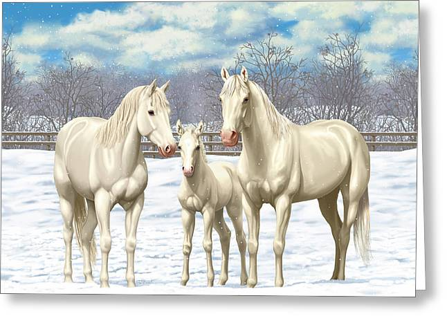 White Horses In Winter Pasture Greeting Card