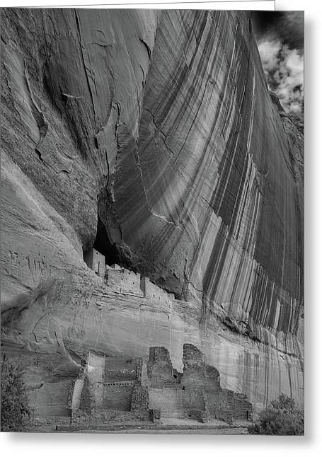 White House Ruins Canyon De Chelly B W Greeting Card by Steve Gadomski