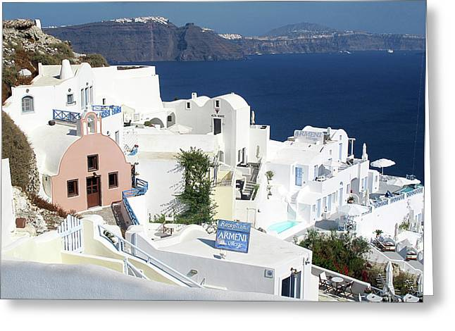 White Houses Of Oia Greeting Card