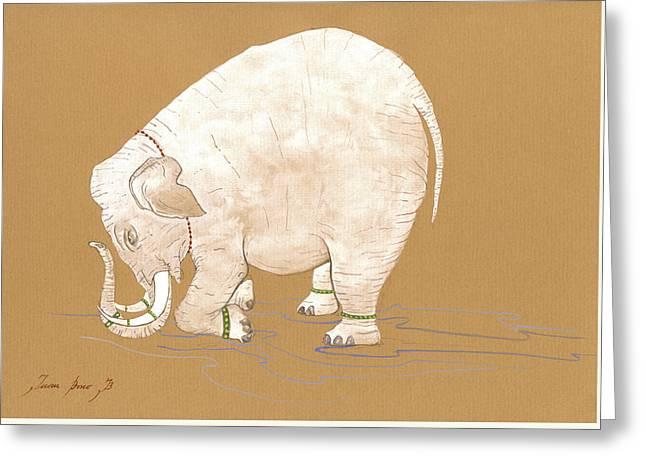 White Indian Elephant Greeting Card