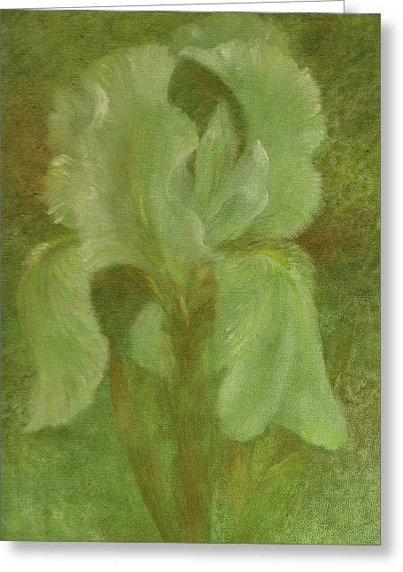 White Iris Painterly Texture Greeting Card