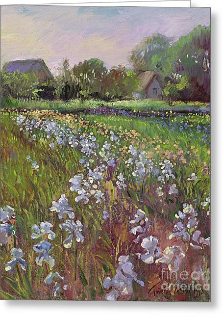 White Irises And Farmstead Greeting Card