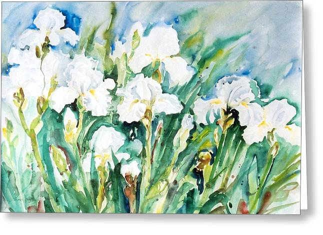 White Irises Greeting Card by Alexandra Maria Ethlyn Cheshire