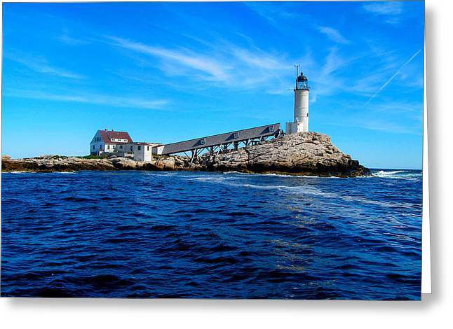 White Island Lighthouse Greeting Card by Bob Foudriat