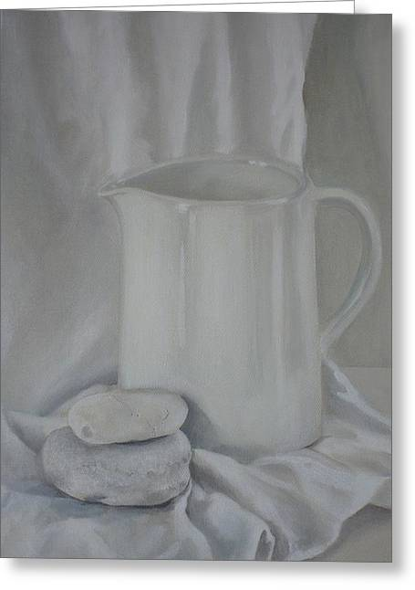 White Jug And Pebbles Greeting Card