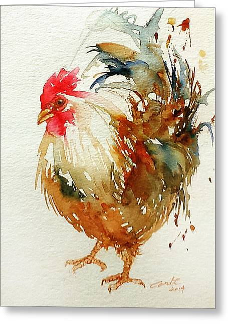 White Knight Rooster Greeting Card