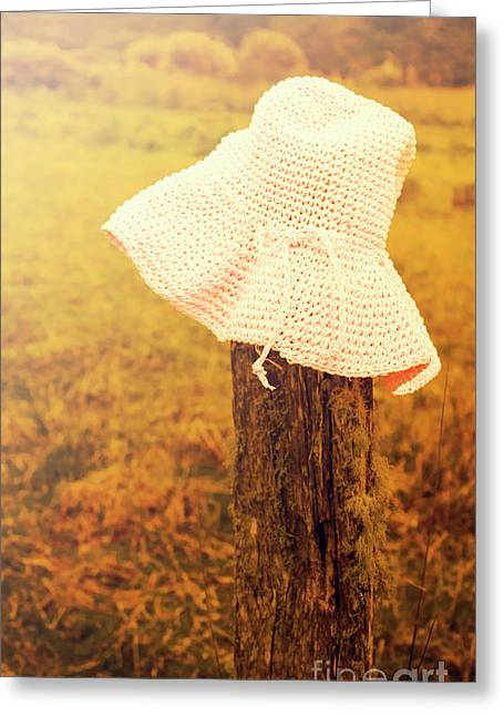 White Knitted Hat On Farm Fence Greeting Card