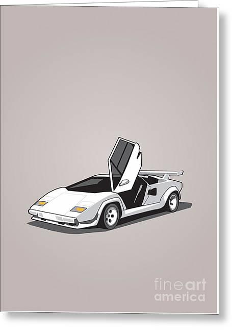 White Lamborghini Countach Greeting Card