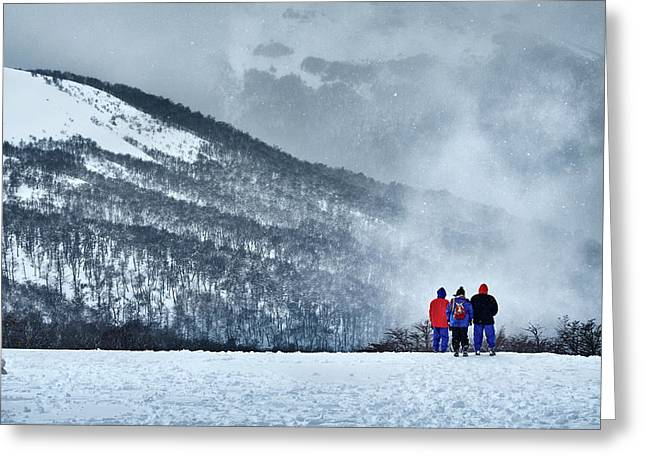 White Landscape In The Frozen Paradise In The Argentine Patagonia Greeting Card