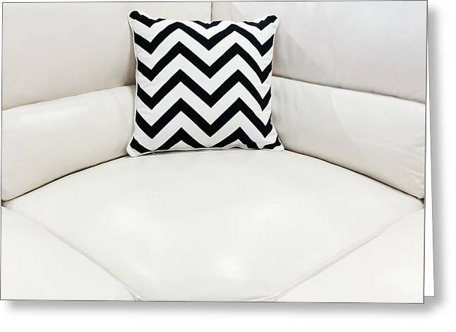 White Leather Sofa With Decorative Cushion Greeting Card