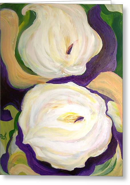 White Lilies In Purple Chiffon Greeting Card