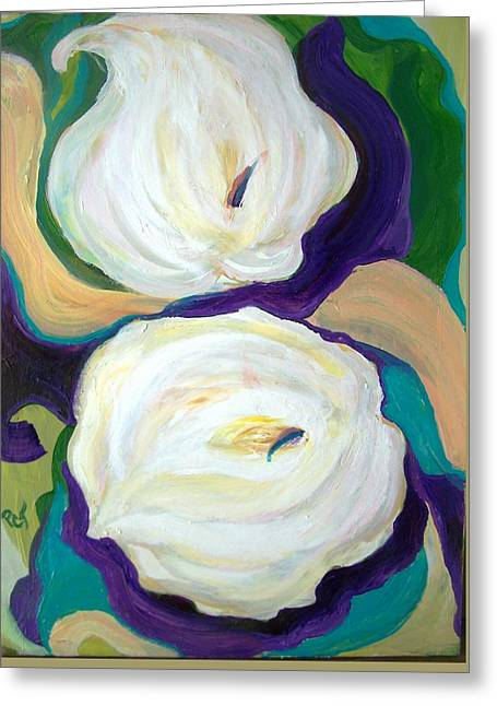 White Lilies In Purple Chiffon With Torquoise Blue Greeting Card