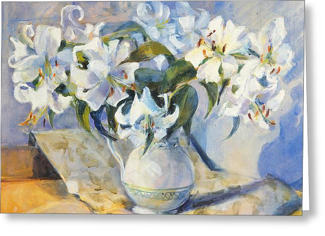 White Lilies In White Jug Greeting Card by Sue Wales