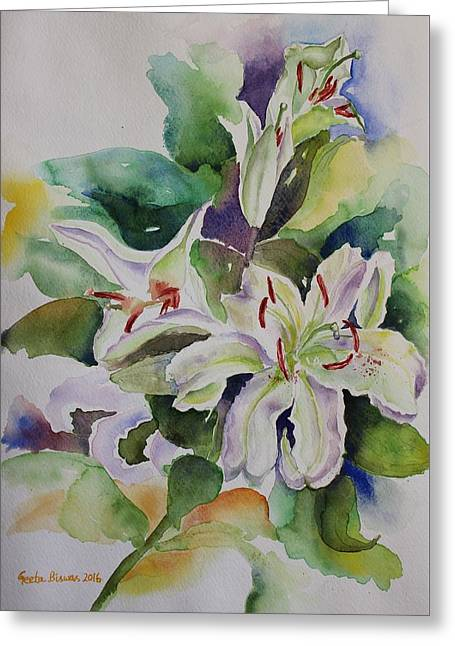 White Lilies Still Life Greeting Card