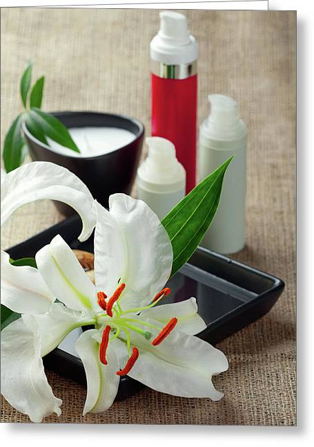 White Lilies With Face Creams By Svetlana Imagineisle Greeting Card