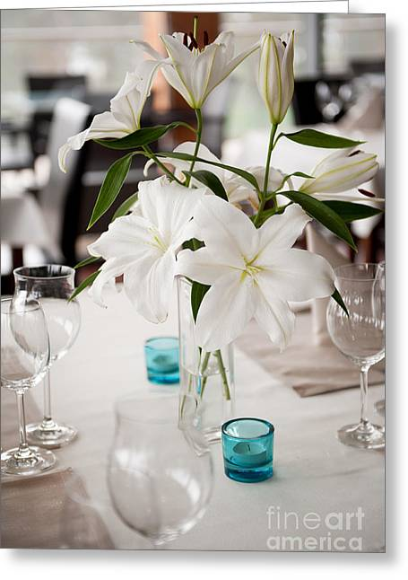 White Lilium Lily Flowers In Glass Vase  Greeting Card