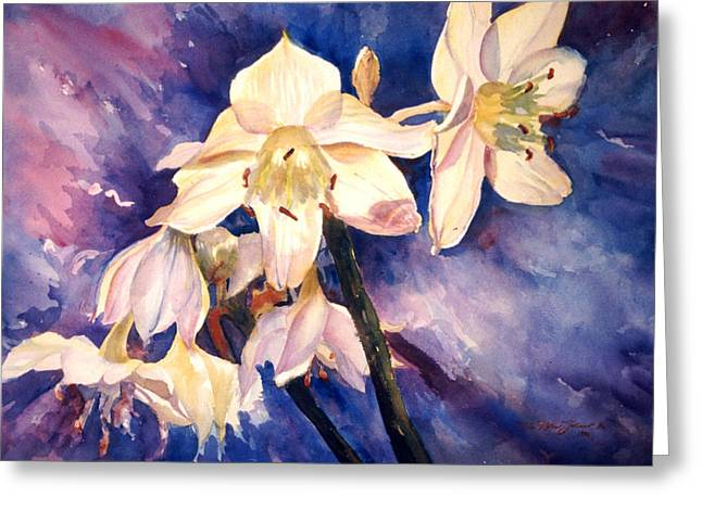 White Lillies Greeting Card by Estela Robles