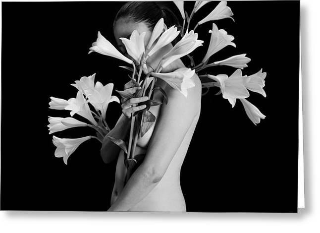 White Lily Greeting Card by Mayumi Yoshimaru