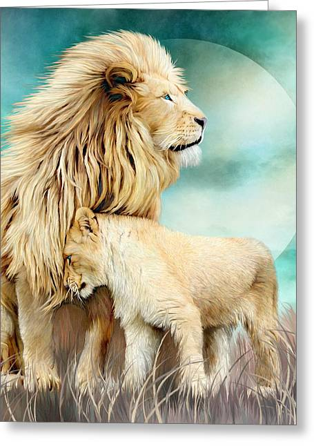 White Lion Family - Protection Greeting Card