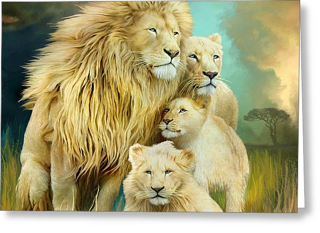 White Lion Family - Unity Greeting Card