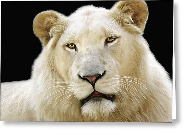 White Lion Greeting Card by Julie L Hoddinott