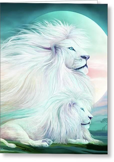 White Lion - Spirit King Greeting Card by Carol Cavalaris