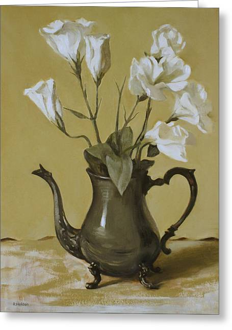 White Lisianthus In Silver Coffeepot Greeting Card