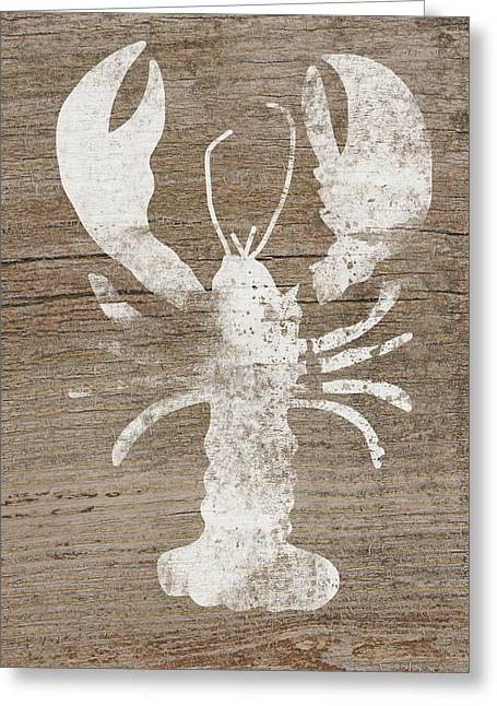 White Lobster On Wood- Art By Linda Woods Greeting Card by Linda Woods