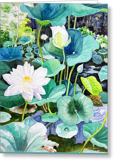 White Lotus 1 Greeting Card by Vishwajyoti Mohrhoff